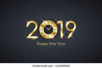 Golden happy new year 2019 with clock face on black color background