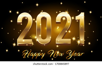 Golden Happy New Year 2021 With Burst Glitter on Black Colour Background Vector Illustration