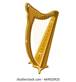 Golden harp isolated on a white background. Vector cartoon close-up illustration.