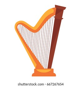 Golden harp with wooden detail isolated flat illustration