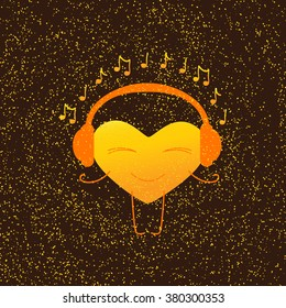 Golden heart character with closed eyes and smile in orange headphones with note around it isolated on brown background with golden dotes. Greeting card / party invitation design. Music fan concept
