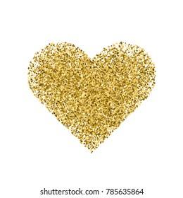 Golden heart isolated on white background. Valentine Day symbol. Vector illustration,eps 10.
