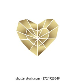 Golden heart, luxury symbol of heart or love, geometric polygonal style.
