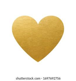 Golden Heart on white Background - Love Symbol