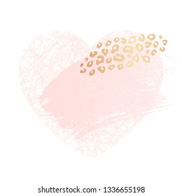 Golden heart pink blank nude art frames. Card design, brush stroke, lines, points, gold, premium flyer, invitation template. Beauty identity elegant style, golden exotic leopard animal skin texture
