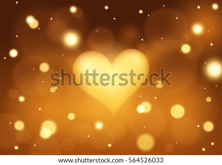 Golden Heart Valentines Day Lights Background Stock Vector Royalty