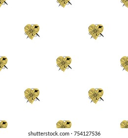 Golden hearts with flowers seamless pattern. Romantic background. All over print.