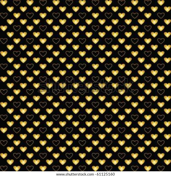 Golden hearts pattern on black