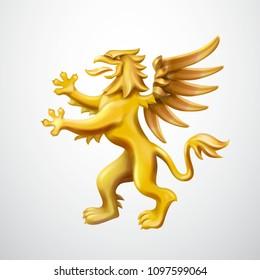 Golden heraldic Griffin vector emblem illustration