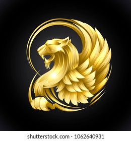 Golden heraldic Griffin vector illustration