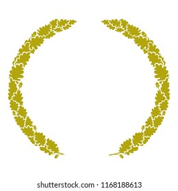 Golden heraldic wreath of oak branches, vector isolated monochrome image