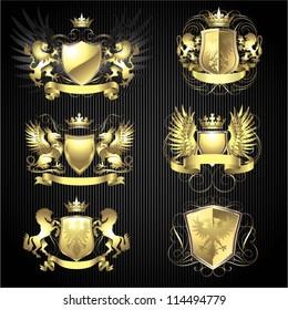 Golden heraldry set