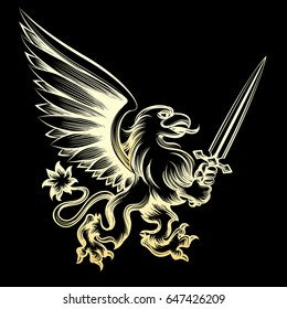 Golden heraldy gryphon with sword on black background. Vector illustration