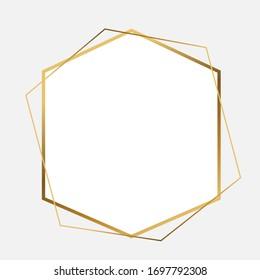 Golden Hexagon vector frame. Abstract vector minimal design template for wedding, invitation, poster card, banner