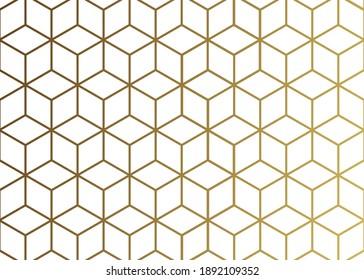 Golden hexagonal line pattern background.