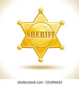 Golden hexagonal star icon, sheriff badge symbol. Vector illustration, isolated on white.
