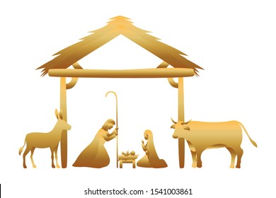golden holy family in stable with animals manger vector illustration