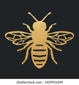 Golden Honey Bee Shape On Black Background. Vector Silhouette.