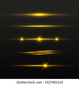 Golden horizontal lens flares pack, laser beams, light flare. Luminous abstract sparkling lines.