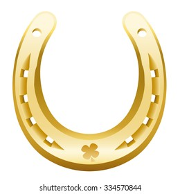 Golden Golden horseshoe with cloverleaf icon. Isolated vector illustration over white background.