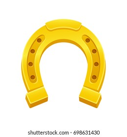 Golden horseshoe, lucky St. Patrick's day symbol. Good luck sign, vector clip art illustration.