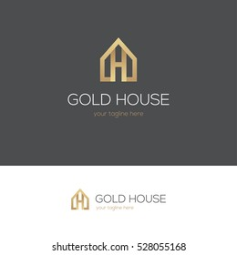 Golden house icon with letter h. Can be used for real estate, jewelry or hotel logo design concept.