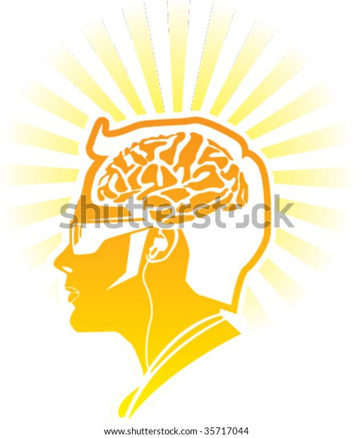 Golden Human Brain modern man glossy illustration