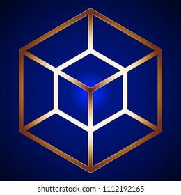 Golden Hypercube Figure on background