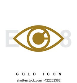 Golden icon or logo of an eye. Vision, optometrist, vigilance, optics, tracking a luxury vector symbol or sign