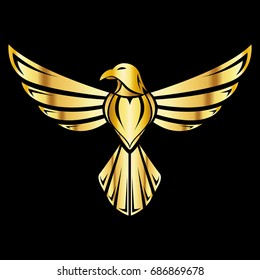 A golden illustration of an eagle which can be used for a logo or as an icon.