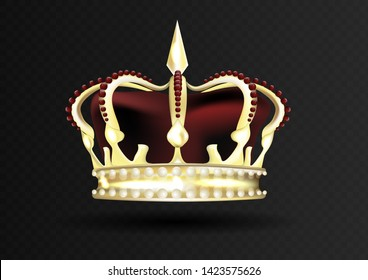 Golden imperial crown with red mitre encrusted with red gems. Vector illustration.
