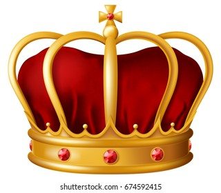 Golden imperial crown with red mitre encrusted with red ruby gems. Vector illustration.