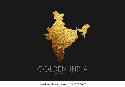 Golden India Logo on the black background