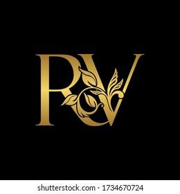 Golden Initial Letter R and V, RV Luxury Logo Icon, Vintage Gold Letter Logo Design Template