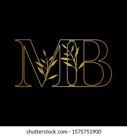 Golden initial M and B, MB, BM letter logo icon, outline vintage design concept classic nature leaves with letter gold color.