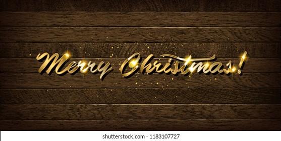 Golden inscription Merry Christmas on wooden background. Vector illustration