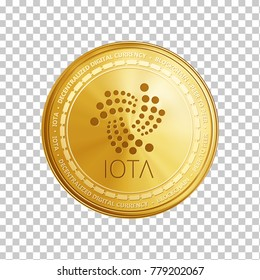 Golden IOTA coin. Crypto currency blockchain coin IOTA symbol isolated on white background. Realistic vector illustration.