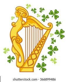 Golden Irish harp
