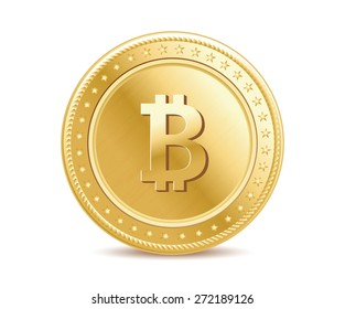 golden isolated bitcoin coin front view
