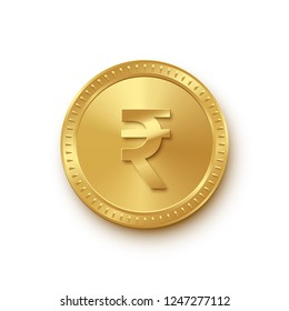 Golden isolated rupee coin on the white background. Vector finance design element