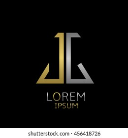 Golden J and silver G letters logo template for your business company