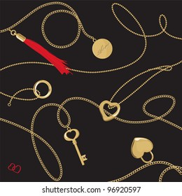 Golden jewelery chain with pendants & tassel