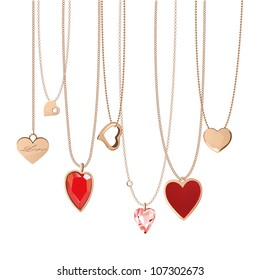 Golden& jewelry chain with heart pendants.