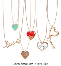 Golden jewelry chain with heart pendants.
