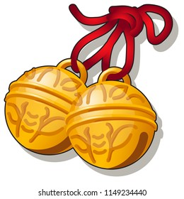 Golden jingle bells with a bee pattern isolated on white background. Vector cartoon close-up illustration.