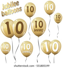 golden jubilee balloons for 10 years in english and german