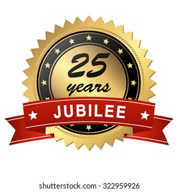 golden jubilee medallion with red banner for 25 years