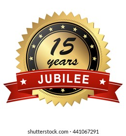 golden jubilee medallion with red banner for 15 years