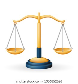 Golden justice scales law equality balance measure symbol isolated icon realistic icon design 3d vector illustration