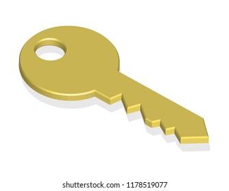 golden key, isolated on white background